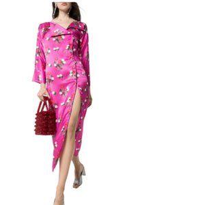 Bernadette Kelly Floral Dress 38 Medium Pink Midi